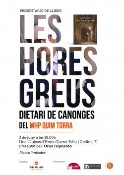 Presentació del llibre Les Hores Greus. Dietari de Canonges